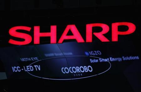 Logo of Sharp Corp is pictured at CEATEC JAPAN 2012 electronics show in Chiba